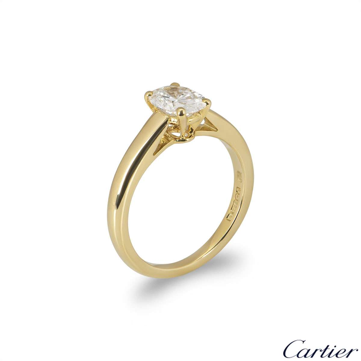 Cartier Yellow Gold Oval Cut Diamond Ring 0.75ct
